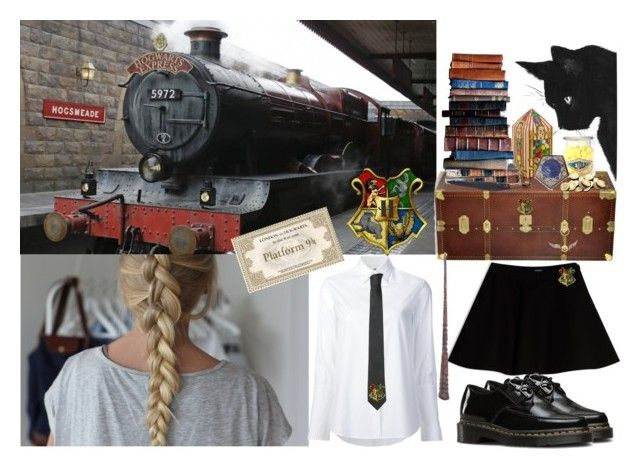 """""""First Day: Platform 9 3/4"""" by harrypotterstyledm ❤ liked on Polyvore featuring The Bridge, Misha Nonoo, Max&Co., Dr. Martens, Versace and Warner Bros."""