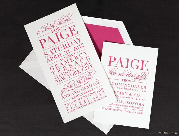 East six pink bridal shower invitation wedding inspiration east six pink bridal shower invitation filmwisefo