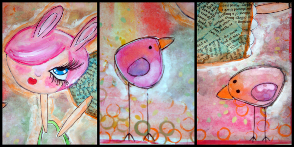 Mixed media painting for Easter on http://my-littleinspirations.blogspot.it/2013/03/la-fatina-delle-uova-mixed-media.html