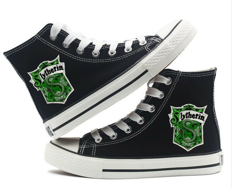 Slytherin Harry Potter Printed High top Canvas Shoes Black