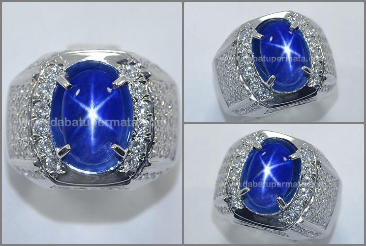 Natural No Heat Royal Blue Safir Star Sps 243 Safir Cincin Batu Mulia
