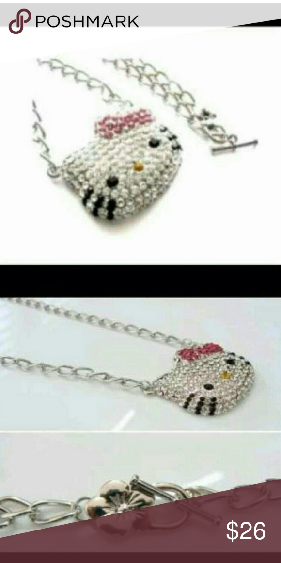 Chunky Crystal Hello Kitty Silver Necklace Chunky Crystal Hello Kitty Silver Necklace Hello Kitty Jewelry Necklaces