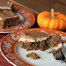 Pumpkin Bars with Kahlua and Cream Frosting. Whole wheat and reduced fat.  www.theyummylife.com/pumpkin_bars