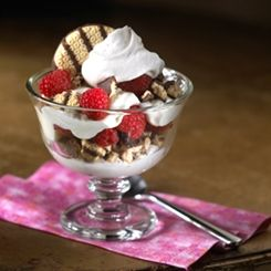 Raspberry-Lemon Parfaits -Layers of fresh raspberries and crushed cookies separate creamy lemon layers, creating desserts elegant enough for company, but easy enough to prepare on weeknights.