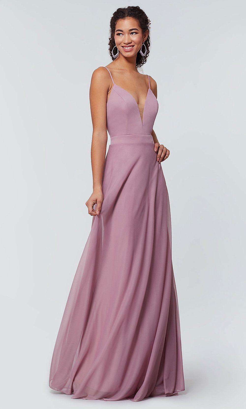 2bbd6dc3d8d Kleinfeld Long Bridesmaid Dress with Deep V-Neckline