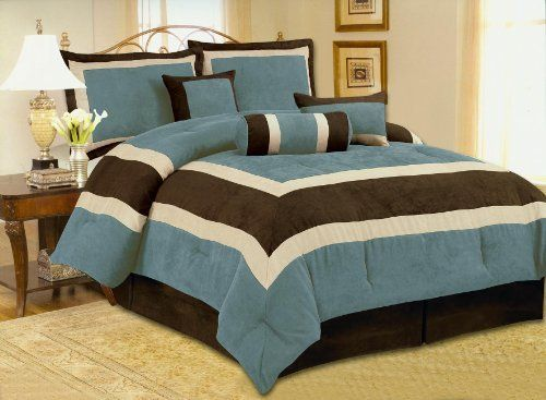 High Quality Soft Micro Suede Comforter Set Bedding-in-a-bag, Aqua Blue - Queen by OctoRose. $69.99. 100% Polyester micro suede material. filling: 100% polyester. We have this design in Queen, King and CalKing size.. included comforter, pillow sham(2), cushion(2), bedskirt and neckroll. Brand New 7pcs Luxioury Micro Suede in  Aqua / Brown in patch work designing Comforter Set bedding-in-bag. Reinvent your bedroom with this refreshingly colorful patchwork comforter...