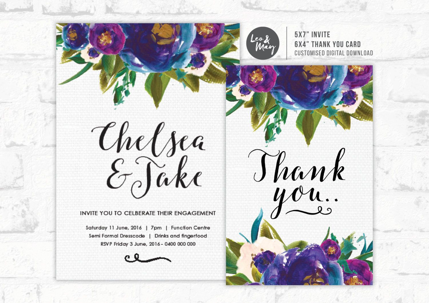 "Painted Flowers 5x7""  6x4""  