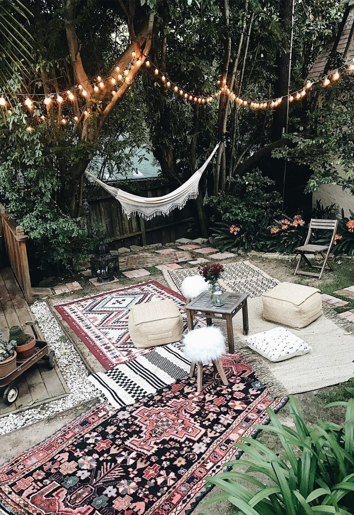 Moroccan Party Decor Bohemian Backyard Hammock Outdoor Rugs Poufs Layer Rug On Top Of Painted Concrete