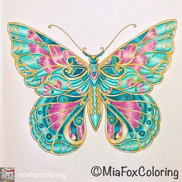 Regrann From Miafoxcoloring Wip Video Is Up On My Youtube Channel Link In Bio Johannabasford Butterfly Art Mandala Coloring Books Coloring Book Art