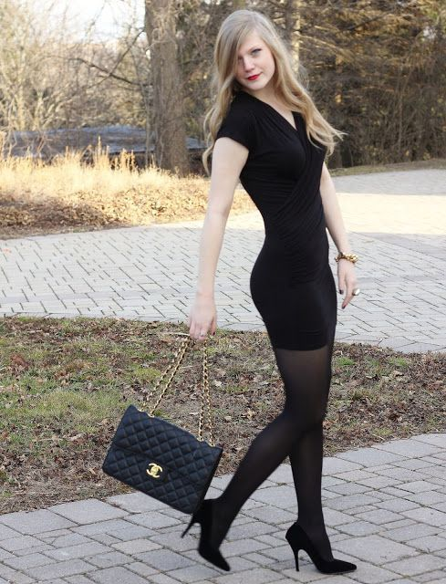 Tight Black Bodycon Dress Black Tights And Black High