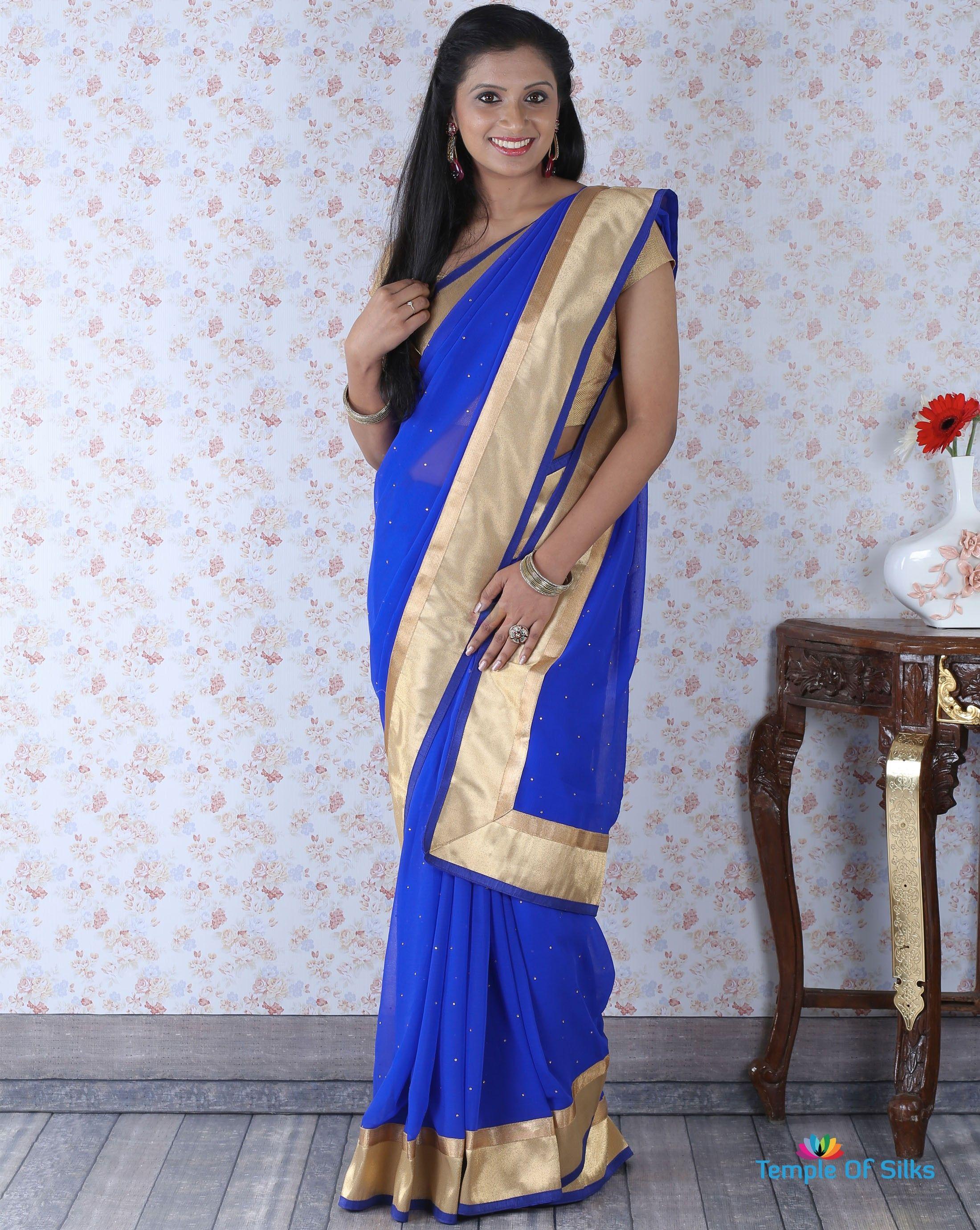 150a89763a Royal blue chiffon saree with golden border | Saree | Chiffon saree ...