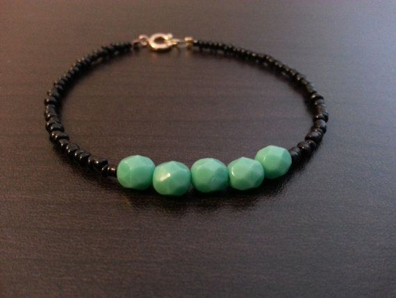 Black & Turquoise Beaded Bracelet  layering bracelet by RogueWill, $14.00