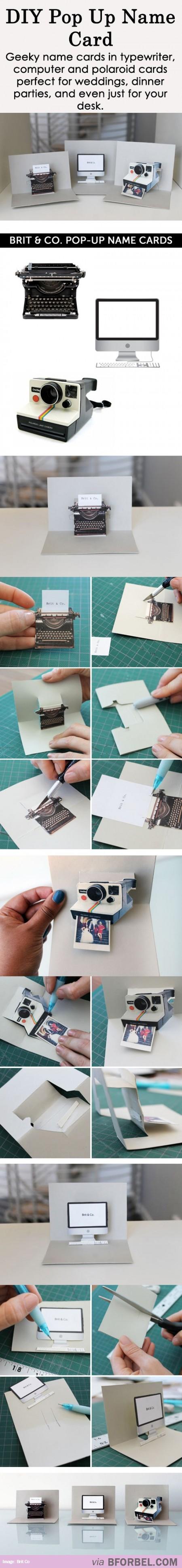 Diy creative pop up name cardsu papercraft pinterest creative