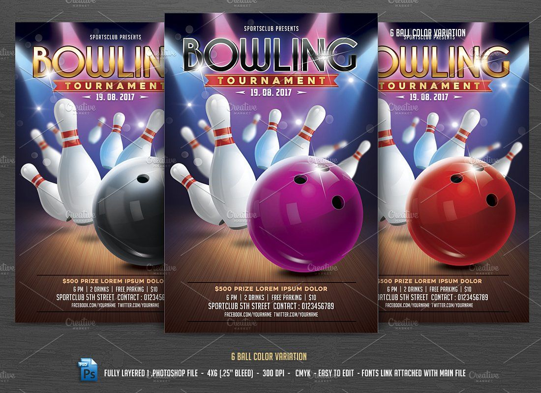 Bowling Tournament Flyer  Flyer Template Adobe And Fonts
