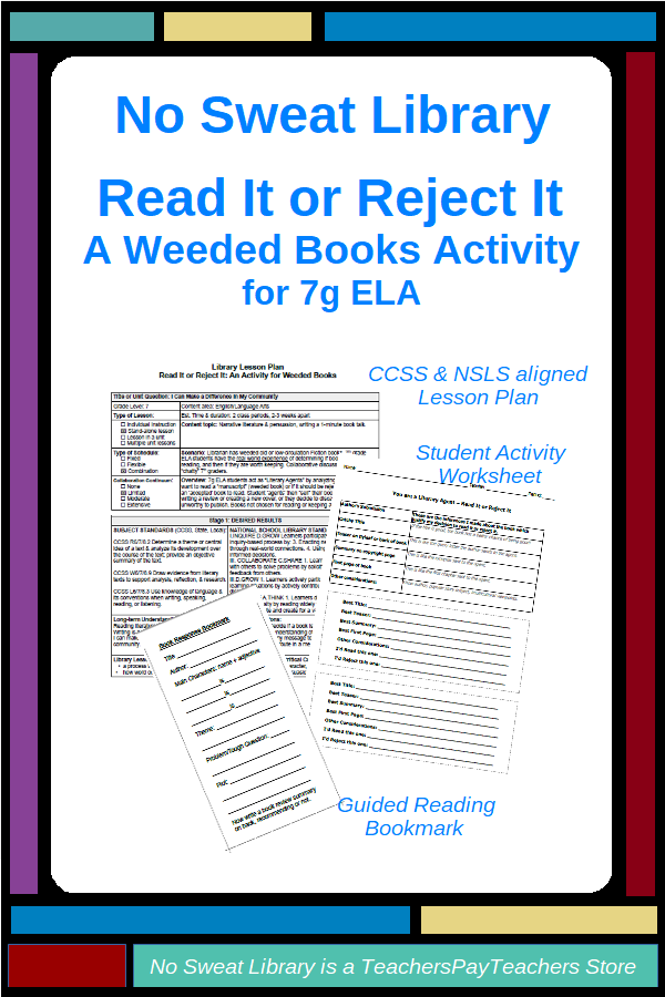 NoSweat Read It or Reject It - A Weeded Books Library Lesson ...