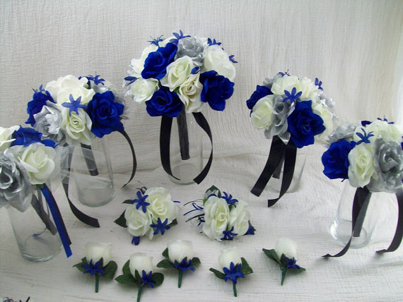 Royal Blue Horizon Blue Black Silver And Ivory Bridal Bouquets
