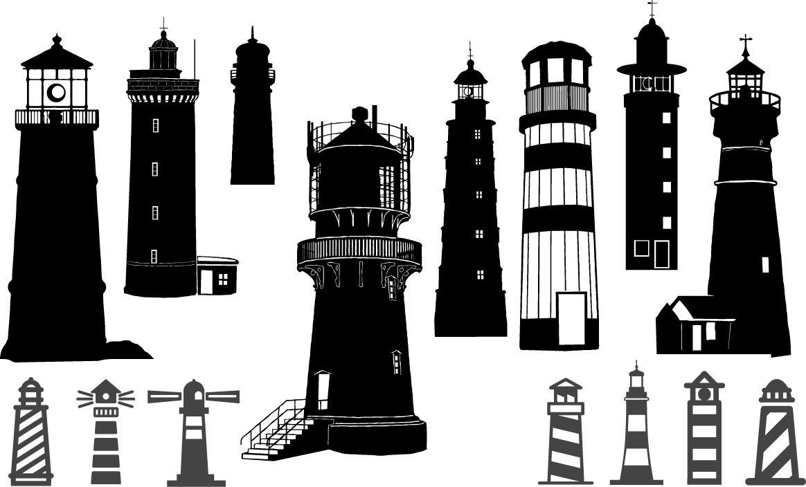 Lighthouse Silhouettes Coast Danger Electric Lamp Lighthouse Maritime Navigation Ocean Sade Sailing Sea Sh Silhouette Vector Silhouette Lighthouse
