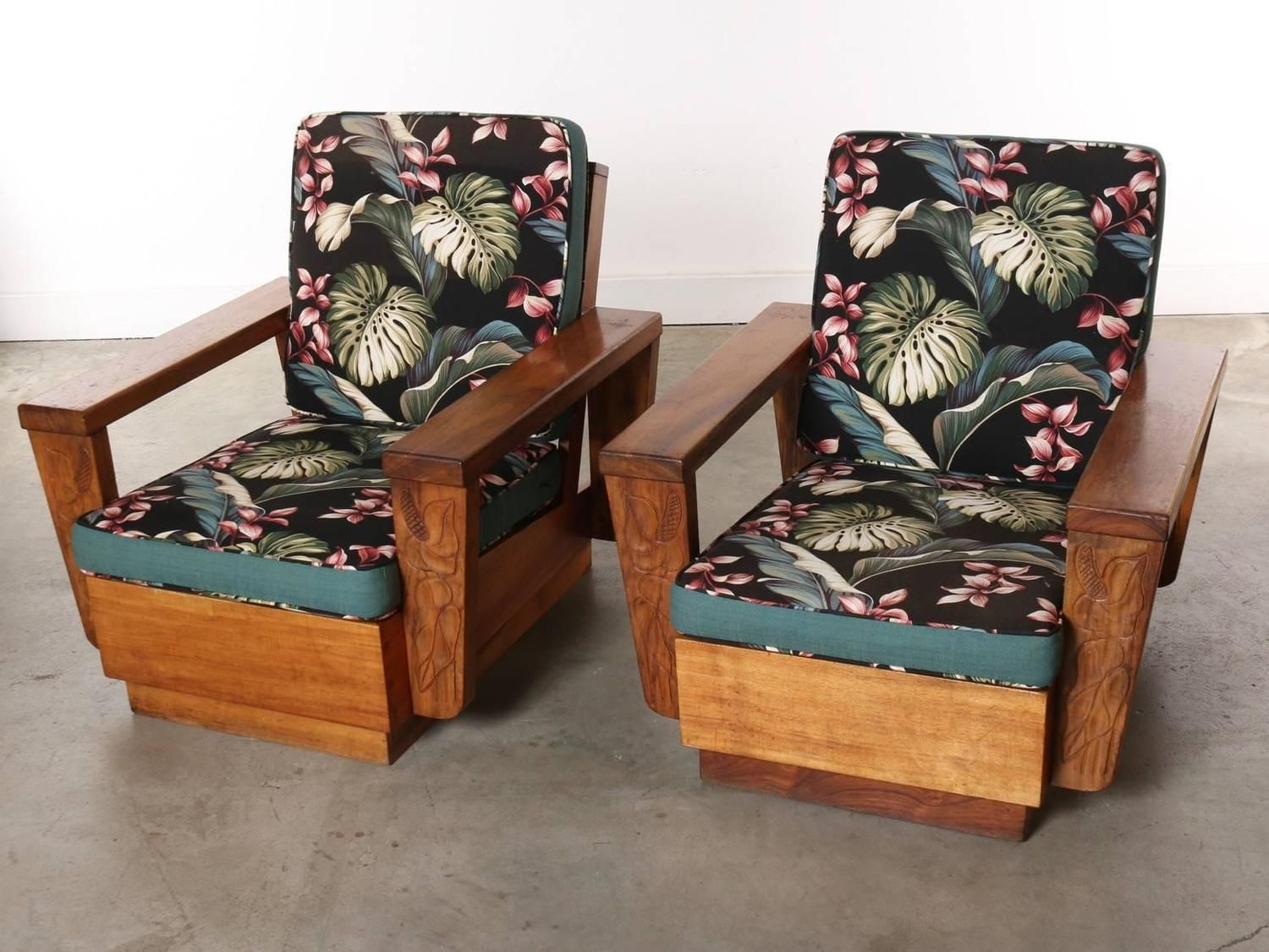 Pair Of 1940s Hawaiian Koa Wood Club Chair From A Unique Collection Antique And
