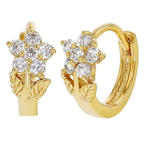 fe3dbd3a0 18k Gold Plated White Crystal Flower Little Hoop Huggie Earrings Baby Girls  Kids 8mm **