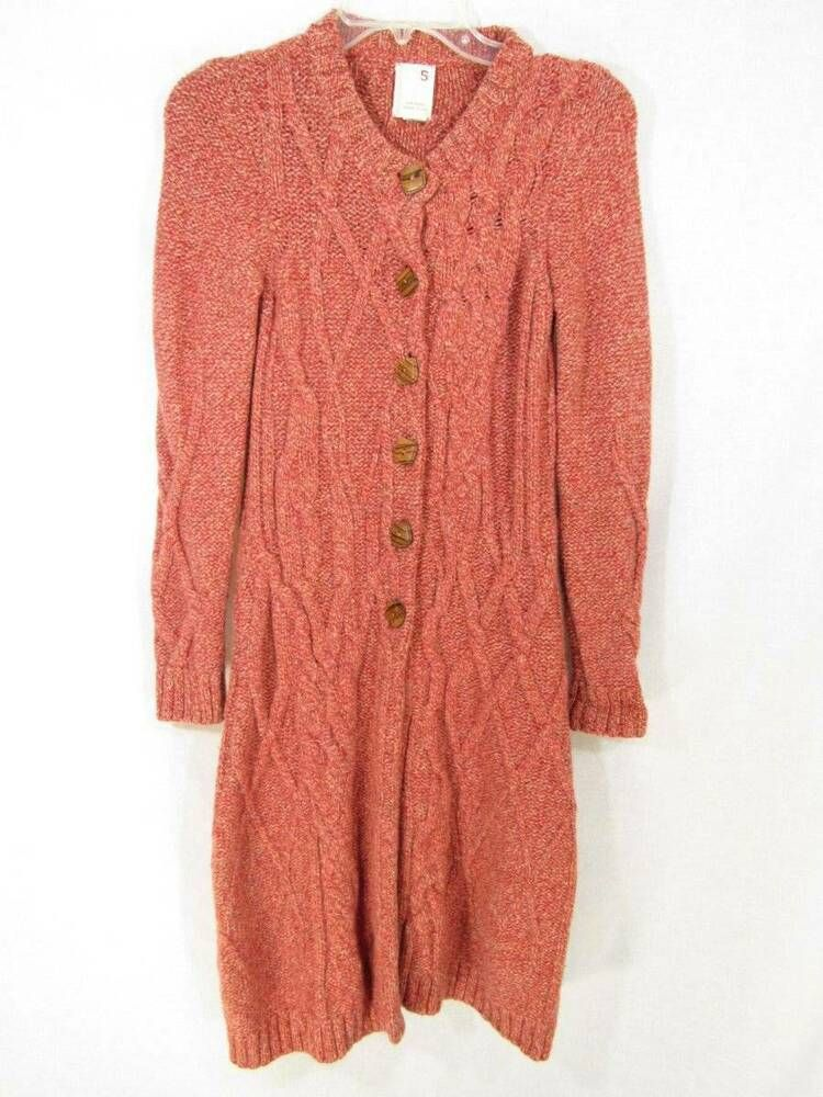 9a48ed2e29f26e (eBay Ad) Far Away From Close Duster Cardigan Small Red Knit Wool Sweater  Anthropologie