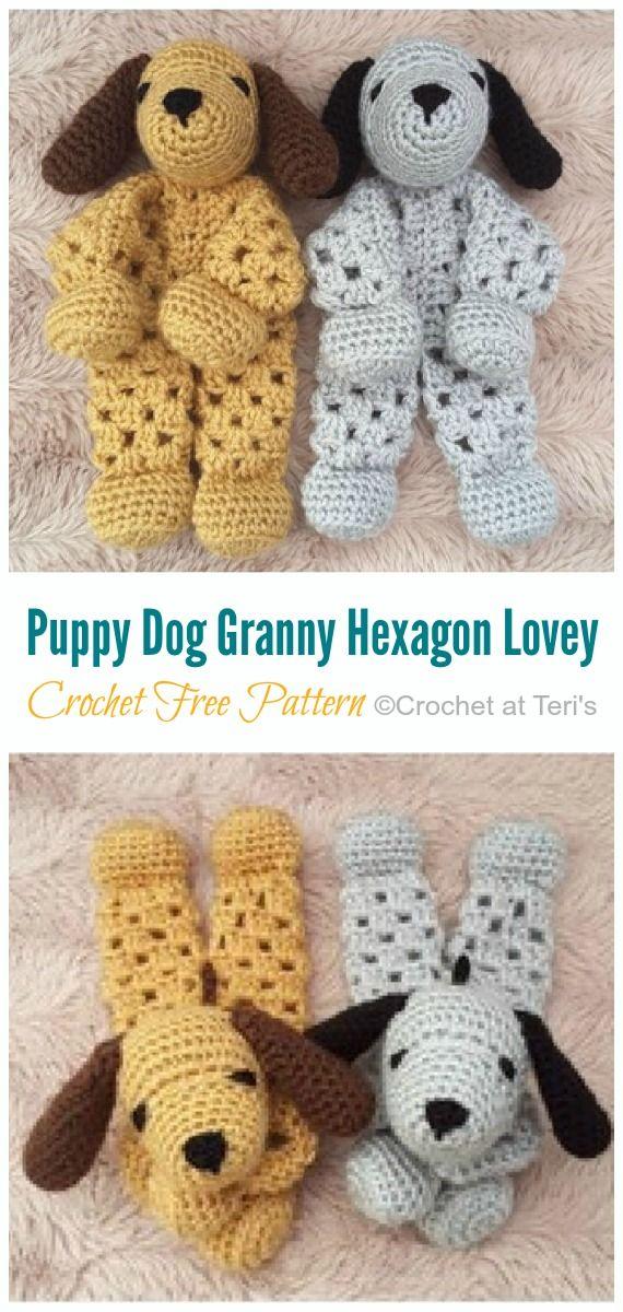 Puppy Dog Granny Hexagon Lovey Crochet Free Pattern #crochetsecurityblanket