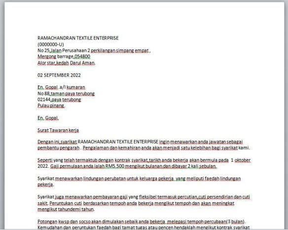 Contoh Surat Tawaran Pekerjaan Surat