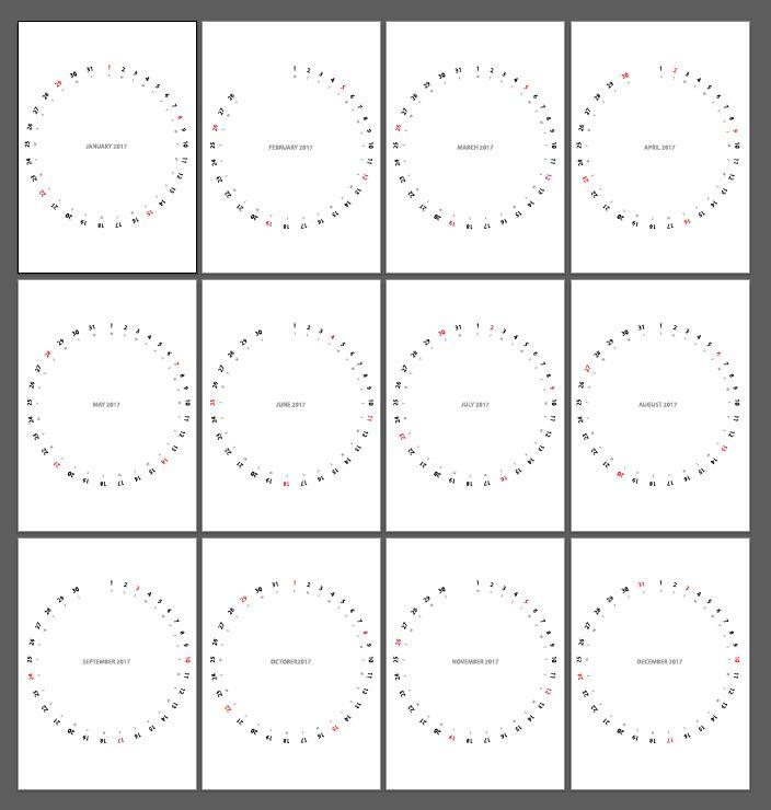 Minimalist, elegant and useful circular calendar format for 2017 - planner format