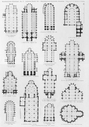 German Church Floor Plans Gothic Architecture Print Architectural Styles Antique Prints And