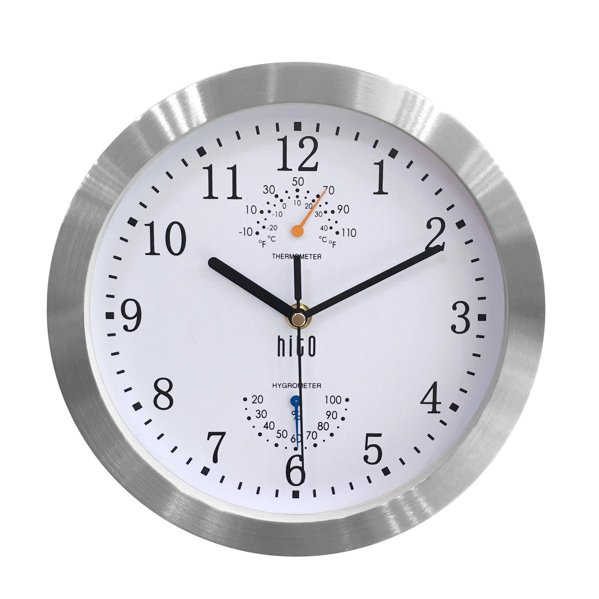 Hito Modern Silent Wall Clock Non Ticking 10 Inch Excellent Accurate Sweep Movement Silver Aluminum Frame Glass Cover Decorative For Kitchen Living Room Bedr Med