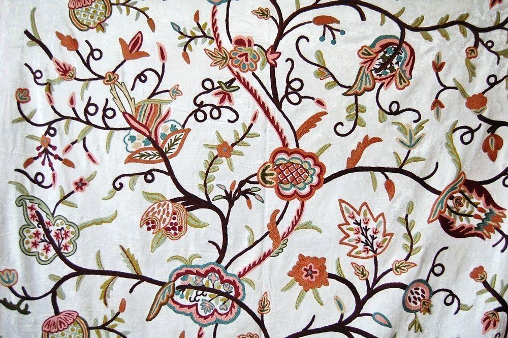 Velvet Crewel Embroidered Fabric White Multicolor Cv301