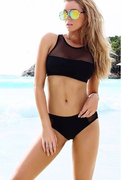 74b9b11f9e124 Product Description  New Stylish Lady Women s Sexy O-Neck Crop Top  Patchwork Bikini Set Swimwear Swimsuit Material  Polyester