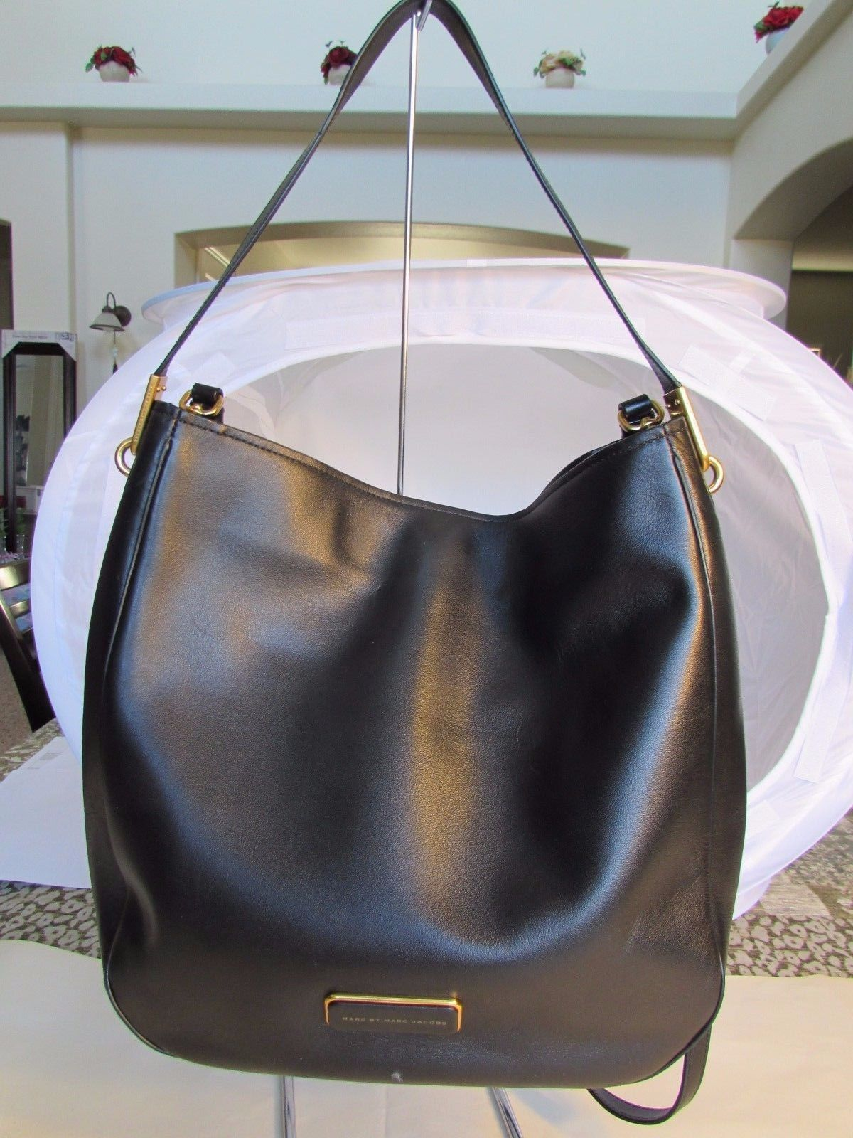 dda70157061e Marc by Marc Jacobs LIGERO Hobo Black Leather 2-WAY Handbag Crossbody  071969-06