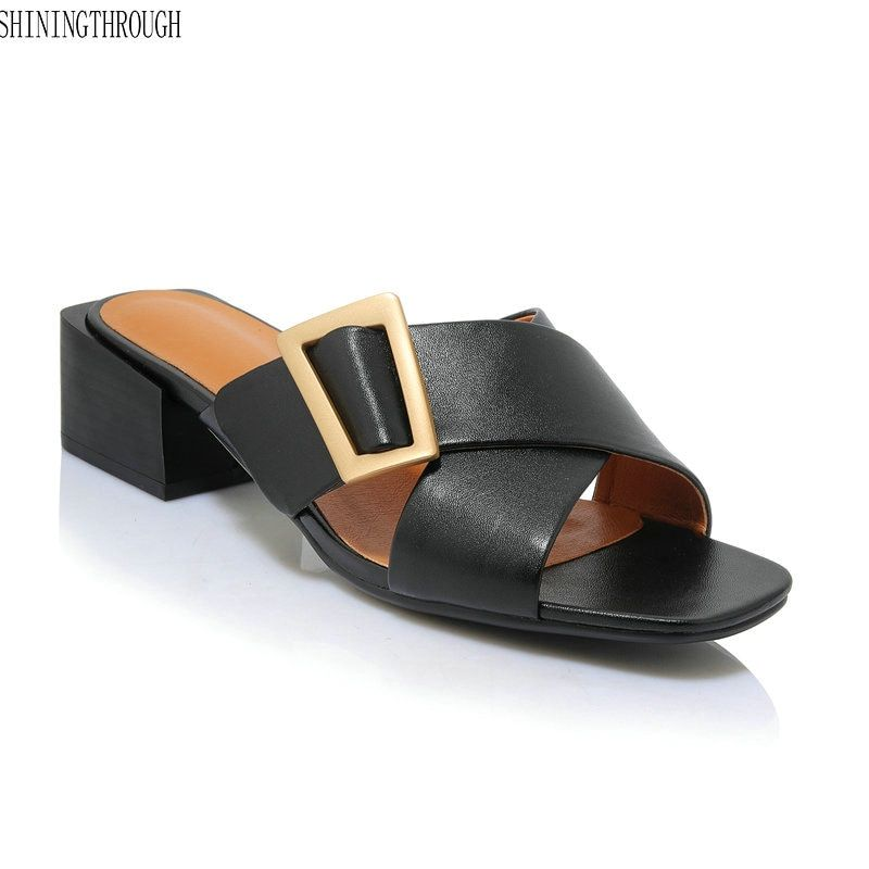 a10c94c8d619 New low heels slipper woman genuine leather women sandals 4cm square heels  buckle ladies party dress