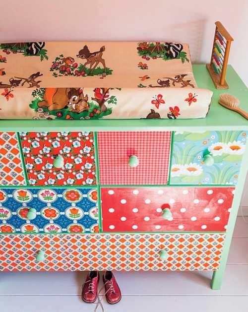 decora los muebles de los nios con papel pintado