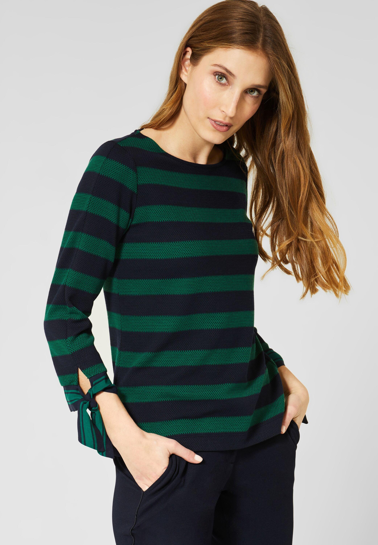 CECIL   Shirt mit Struktur Streifen in Lucky Clover Green ...