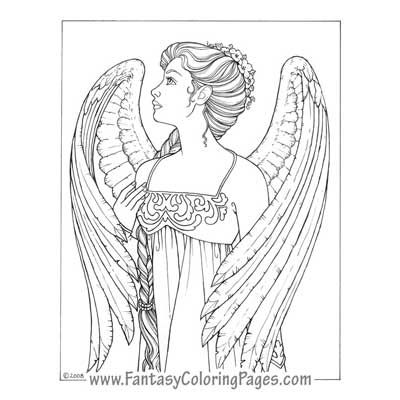 Deryne By Ina Jane Angel Fantasy Myth Mythical Legend Wings Warrior Valkyrie Anjos Goth Gothic Coloring Pages Colouring Adult Detailed Advanced Printable