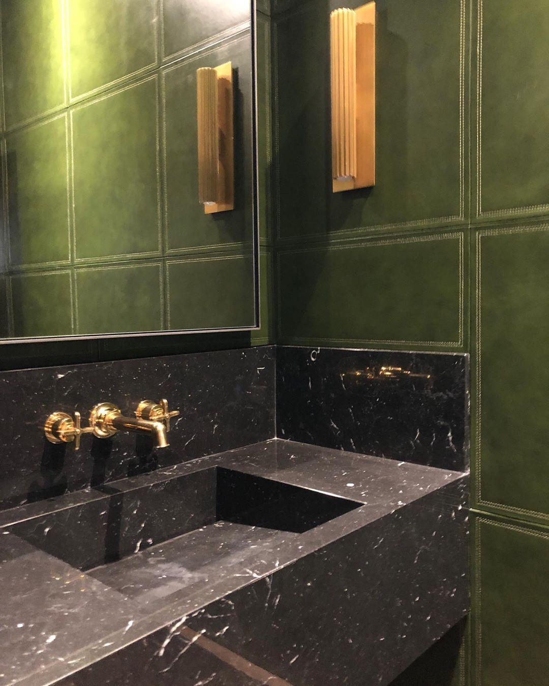 "Powder Room By Amy Kartheiser Design: Amy Studebaker Design On Instagram: ""Green Leather"