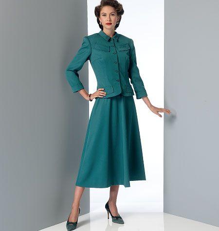 Vintage Vogue Misses' Jacket, Dress and Belt, V9052 http://voguepatterns.mccall.com/v9052-products-49010.php?page_id=174 #voguepatterns