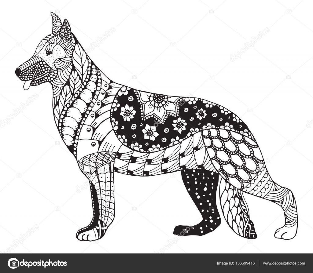 Pobieraj Owczarek Niemiecki Pies Glowy Zentangle Stylizowane Wektor Ilustracja Rysunek Odreczny Olowek Wy Dog Coloring Book Dog Drawing Dog Coloring Page