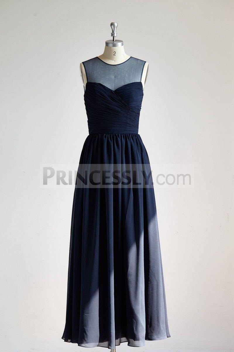 Sheer Illusion Neck Navy Blue Chiffon  Tulle Long Wedding Bridesmaid Dress