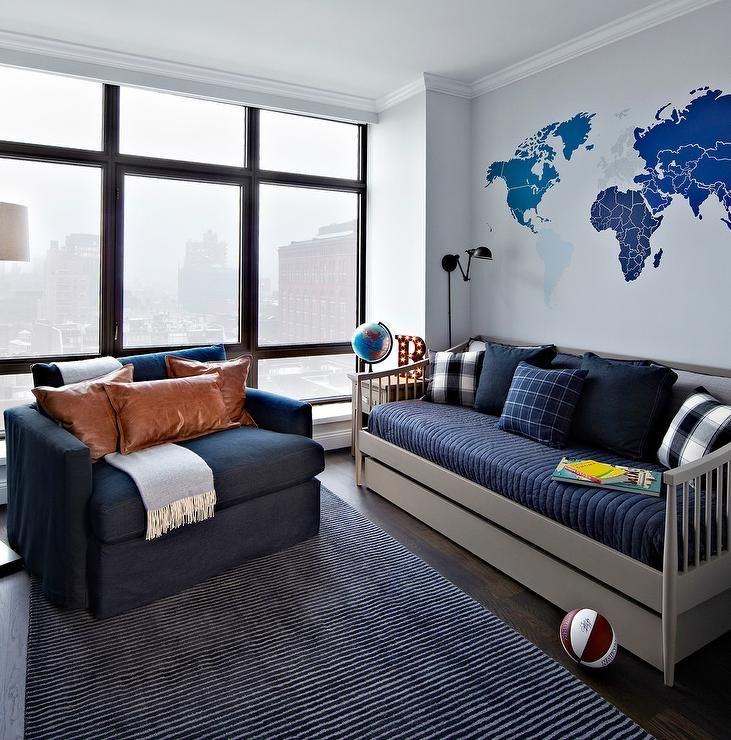 Best Blue And Gray Boy S Room Features A Blue World Map Mural 400 x 300