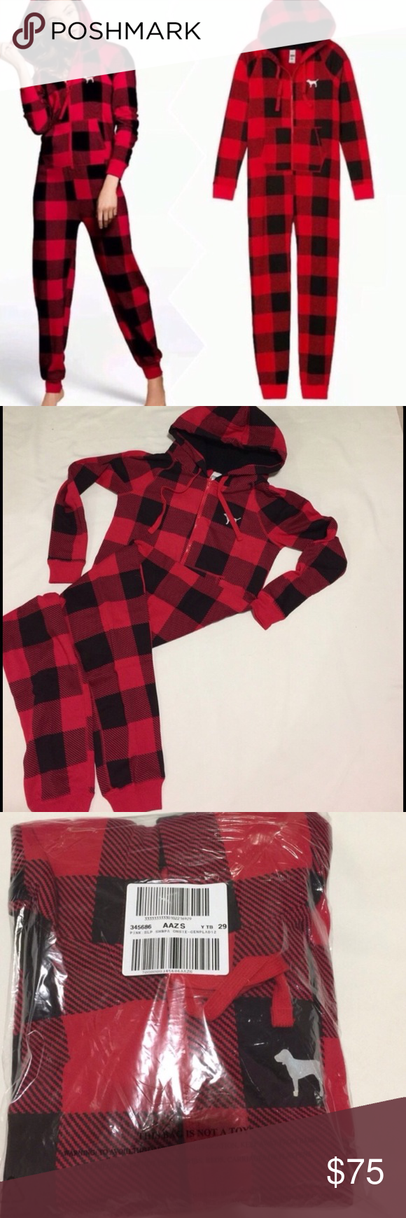 56a5c7909e VS PINK Sherpa long Jane with hoodie red onesie New in a shipping package .  Size