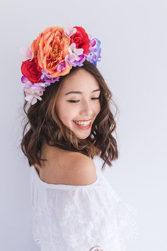 summer vibrant colourful festival flower crown by kisforkani ... 19d0af308ed