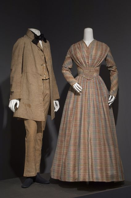 Man's three-piece suit, brown and white checked cotton, circa 1845, USA; Woman's day dress, multicolor madras checked cotton, 1841-1843