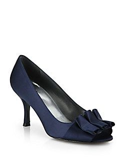Stuart Weitzman - Ruffled Satin Pumps