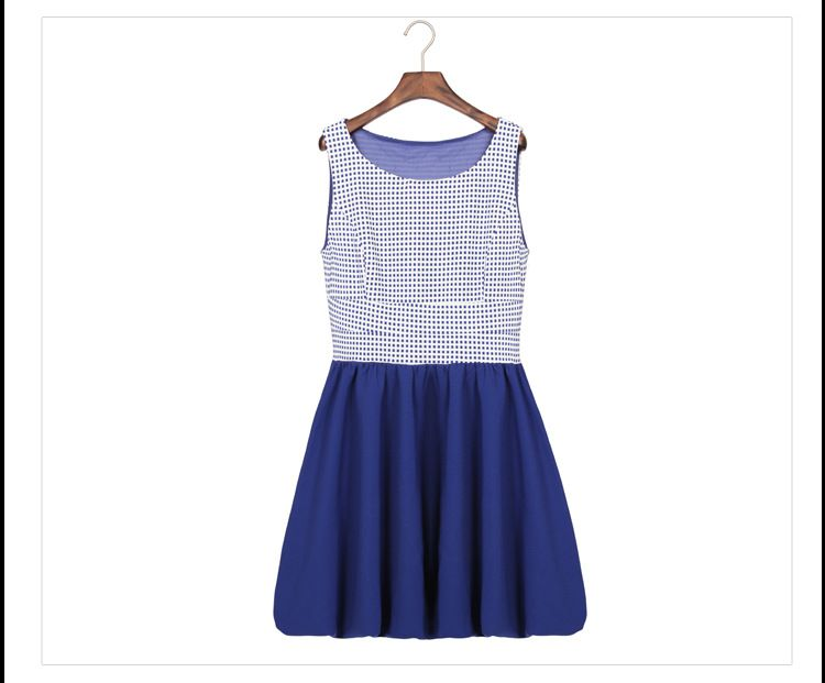 S1467 plaid sleeveless pleated dress-blue