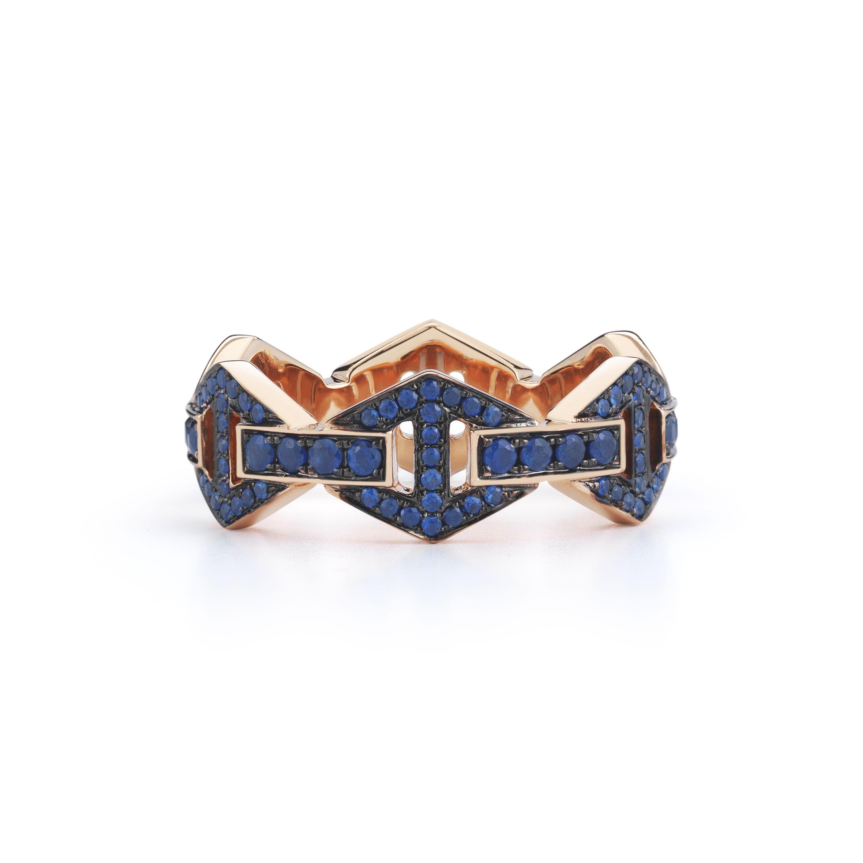 Walters Faith Keynes 18K Signature Black Rhodium Diamond Bar Hexagon Stackable Ring Silver op6GAObLAm