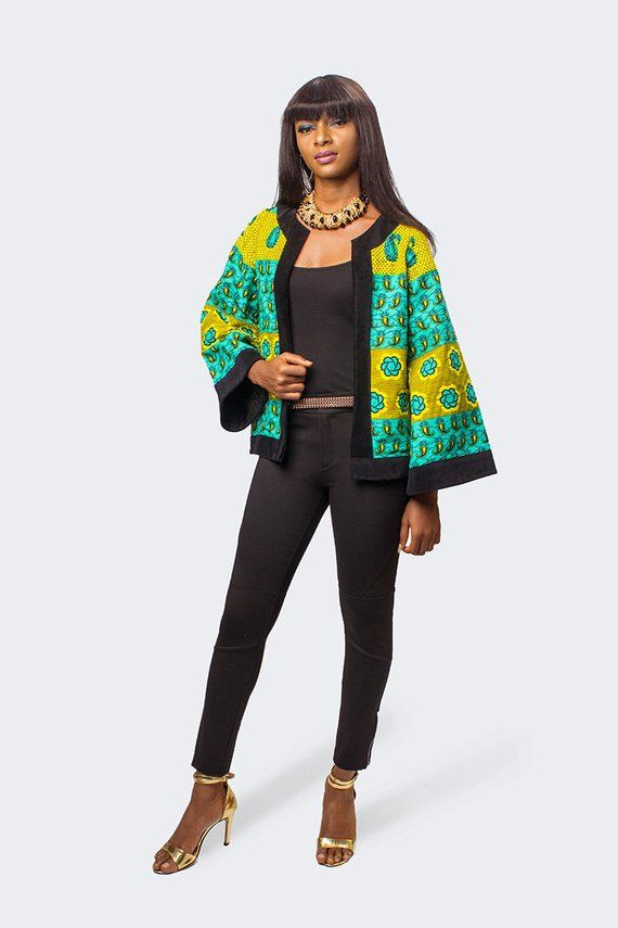 African Print Jacket with Velvet Taping, Ankara Jacket, African Print Jacket, African Women Clothing, African Women Jacket, African Clothing #afrikanischerdruck
