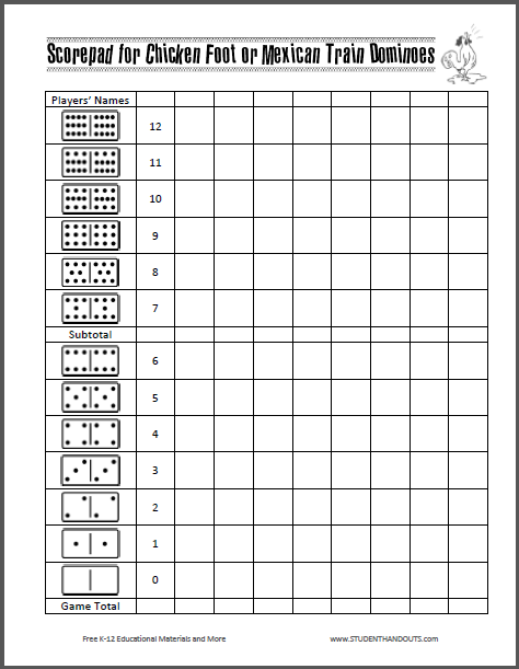 Scorepad for Chicken Foot or Mexican Train Dominoes Free to – Hand and Foot Score Sheet Template