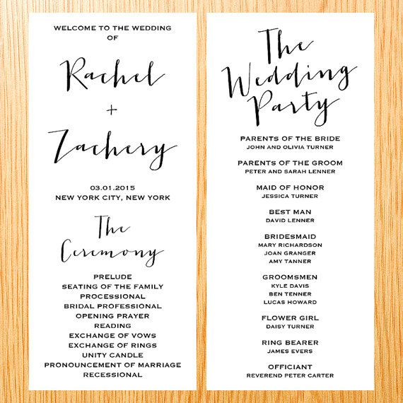 Simple Modern And Minimal With Script Handwritten Font Type Double Sided Wedding Ceremony Program Digital Printable